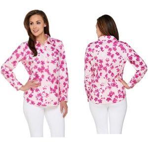 Susan Graver Pink Floral Stretch Button sz 10